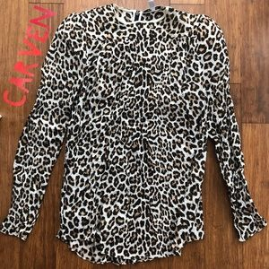 🐆Carven Leopard Textured High Shoulder Top🐆